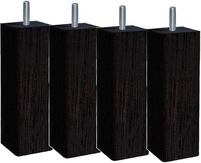 Margot – Douceur escandinava Cuadrado – Juego de 4 Patas de somier de Madera 6 x 6 x 20 cm, Madera, Color Madera Oscura, 6 x 6 x 20 cm