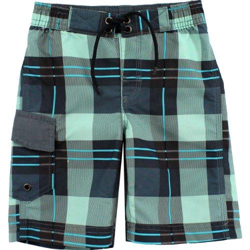 """Boys Board Shorts 1206017B (Grey-""""Plaid"""", 4)"""