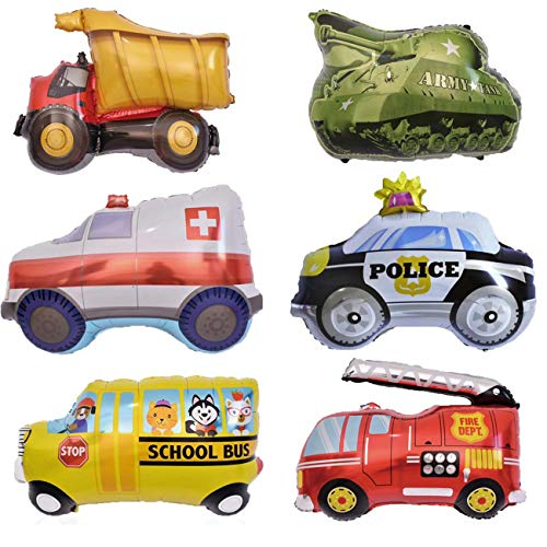 Rose&Wood 6PCS Ambulance Police Car Truck School Bus Fire Truck Tank Foil Balloons Vehicles Balloons for Child Birthday Party Supplies]()