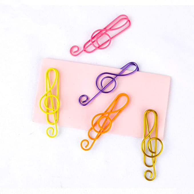 CellCase 50 Pieces Music Paper Clips Musical Notes Clips Note Style Paper Clips Holders Clamps for Desk Bookmark Office School