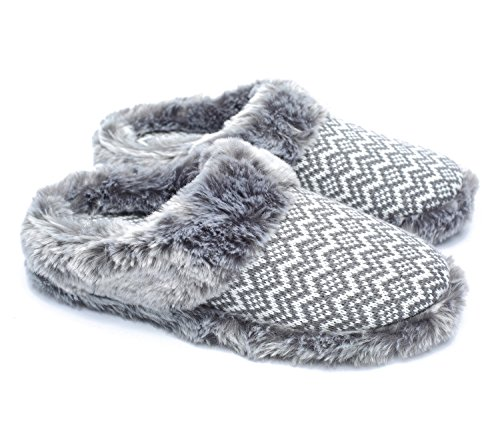Ofoot Women's Cashmere Knitted & Plush Memory Foam Anti-slip Indoor Slippers with TPR Sole (7-8 B(M) US, White with Gray Stripe)