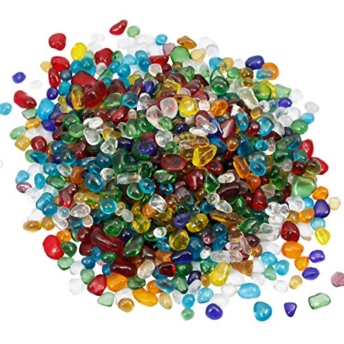 - mookaitedecor 1 lb Tumbled Chip Stones Crushed Tumblestone Crystals Healing Home Decoration,Multicolor Lampwork Glass