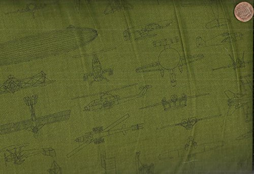 Olive Helicopter (Patriots 5 olive line drawings planes helicopters fabric)