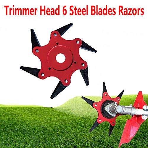Tokenhigh Trimmer Head Cutter 6 Steel Blades Razors, Grass Steel Blades Razors, 65Mn Lawn Mower Grass Weed Eater Brush Cutter Tool, Brush Cutter Head for String Trimmer