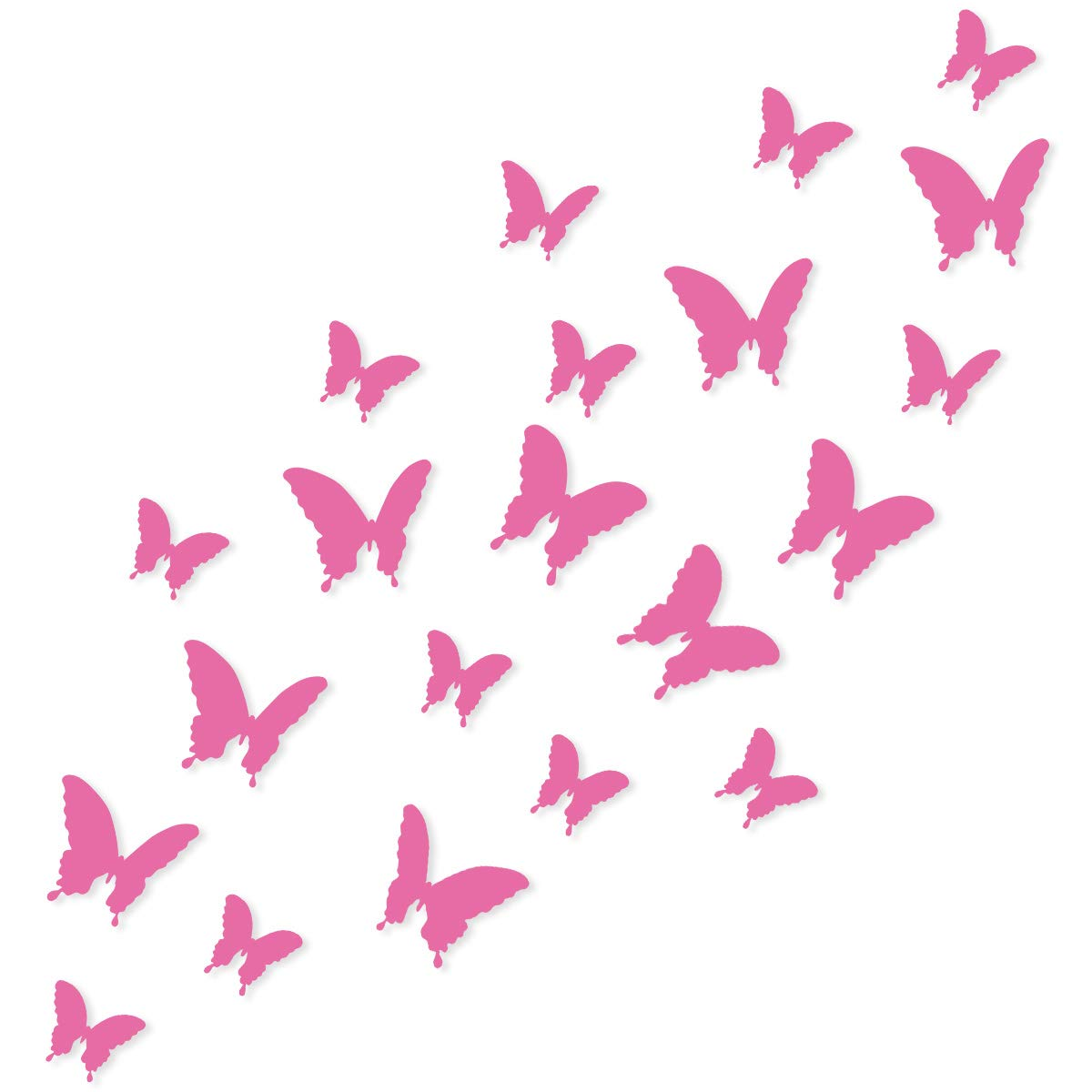 Wandkings 3D Style Butterflies in PINK for wall decoration, 12 PCS in a set with adhesive fixing dots 6098375