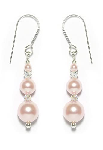 Black Moon® Pale Pink Pearl Long Drop Clip On Earrings made with Swarovski - Gift Box BLIxjO7U