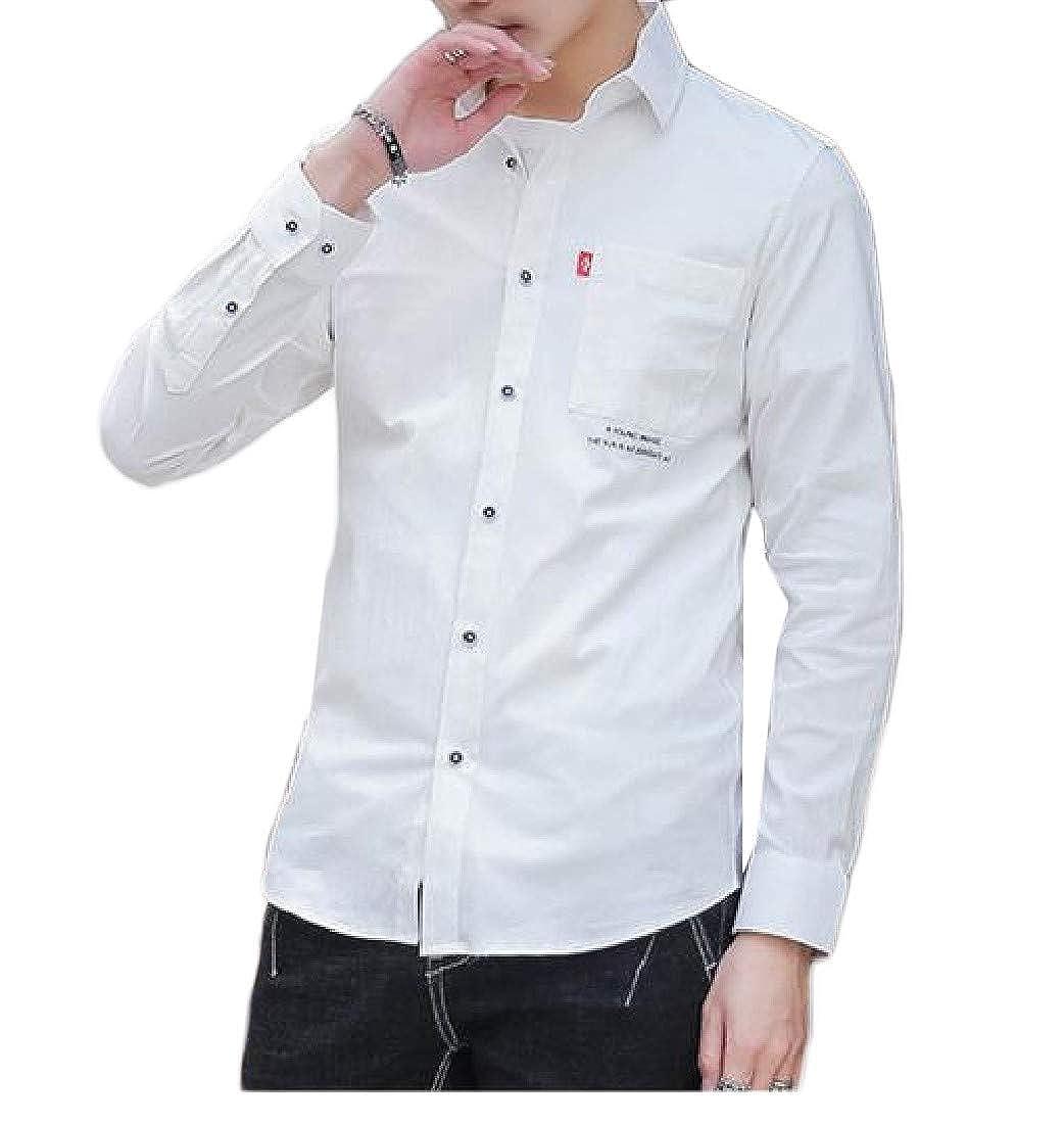 Hajotrawa Men Simple Pure Color Long Sleeve Top Button-Down Shirts