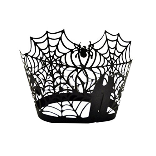 Pixnor Spider Web Cupcake Wrapper Wedding Birthday Decorations Black Pack of 50