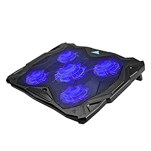 "Laptop Cooling Pad, TeckNet Heavy Duty USB Powered Silent Gaming Laptop Notebook Cooler Cooling Pad Stand with 5 Fans and Blue LED Lights for Macbook Pro, Fits 12""-17"""