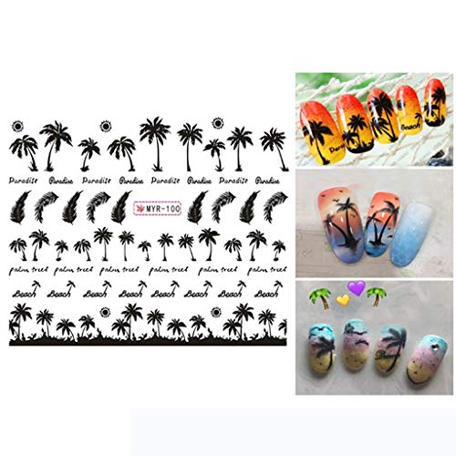 Euone Nail Sticker, Manicure Palm Ocean Wind Tropical Surf Beach Coconut Tree Style Nail -