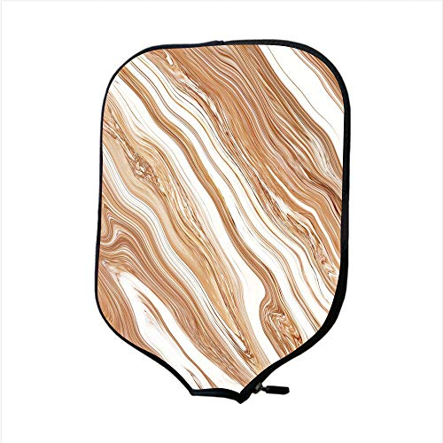 Authentic Outrigger Canoe Paddle - Neoprene Pickleball Paddle Racket Cover Case,Marble,Wavy Colored Fluid Earthen Toned Unusual Classic Stylized Retro Authentic Print Decorative,Cinnamon Cream,Fit For Most Rackets - Protect Your Paddle