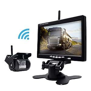 backup camera wireless waterproof 7 inch screen monitor semi trailer box truck rv to. Black Bedroom Furniture Sets. Home Design Ideas