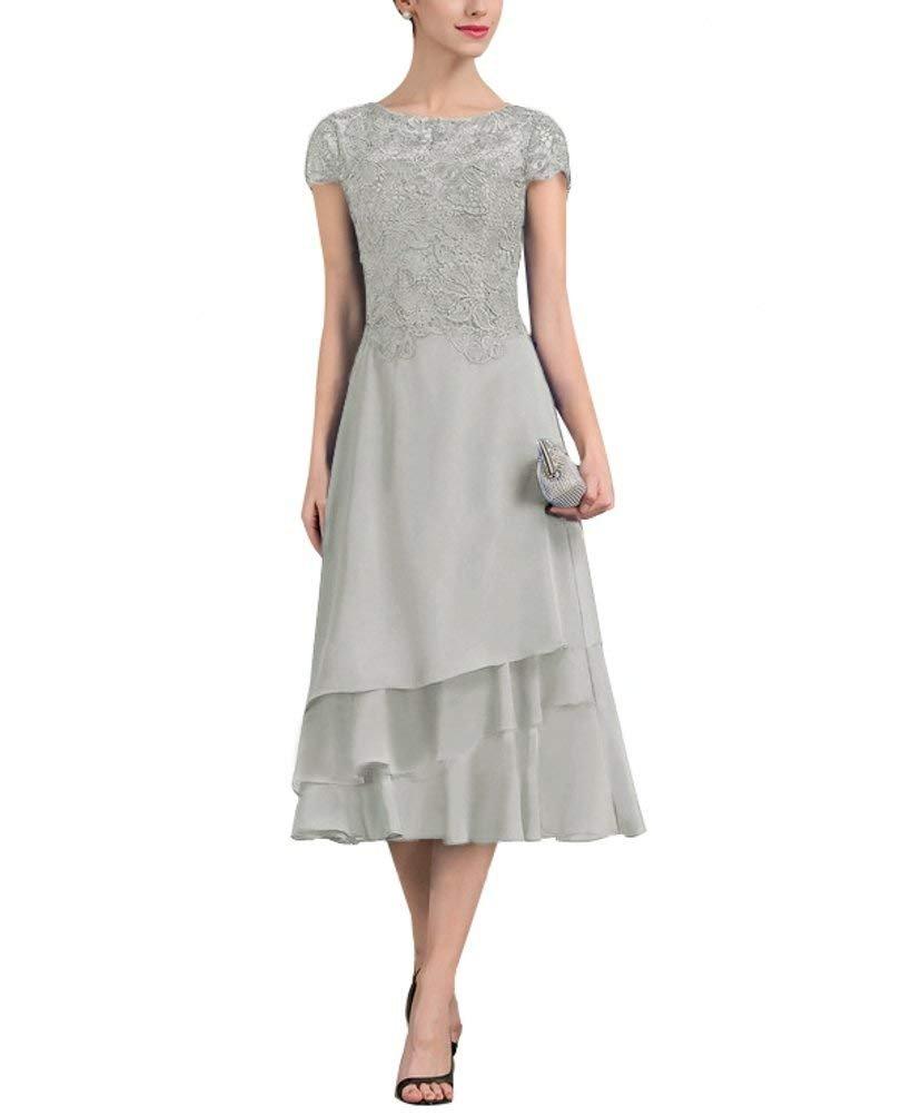 Simple Elegant Tea Length Chiffon Cap Sleeve Wedding: PearlBridal Women's A-Line Chiffon Lace Mother Of The