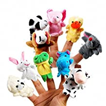 Set of 10 Zoo Farm Animal Finger Puppets Plush Cloth Toys for Bed Story Telling