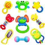 CSXC Baby Toys Baby Rattles Teether 9 Pcs, Early Educational Toys for 3 6 9 12 Month Baby Infant Toddler, Set for Newborn