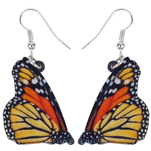 (Bonsny Drop Dangle Floral Monarch Butterfly Earrings Insect Jewelry For Women Girls Kids Gift Charms)