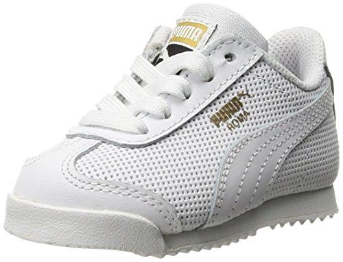 (PUMA Kids' Roma Basic Perf Sneaker,Puma White-Puma White,1.5 M US Little Kid)