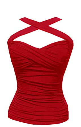 a5f08ce18ea RED Ruched Halter Top Cross Your Heart Pinup Style Convertable Straps (M)