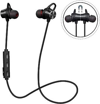 Écouteurs Bluetooth magnétiques, Casque Bluetooth 4.1 stéréo ultraléger avec Microphone, étanche, 8 Heures de Lecture, Annulation du Bruit, écouteurs