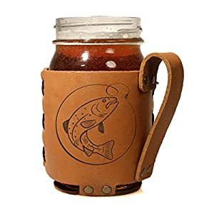 16oz Regular Mouth Mason Jar Holder: Fish on a Hook Leather Mason Jar Sleeve with Handle by Oowee Products