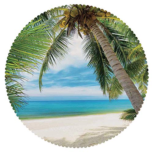iPrint Cool Round Tablecloth [ Ocean Decor,Shadow Shade of a Coconut Palm Tree on White Sand ] Decorative Ideas