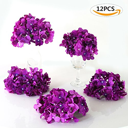 Veryhome Blooming Silk Hydrangea Flower Heads for DIY Bouquets,Wedding Centerpieces,Home Decor (12pcs,purple) (Wedding Purple Centerpieces)