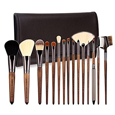 ZOREYA Makeup Brush Set 15 Piece of Luxury Real Walnut Handle Makeup Brushes and Exclusive Leather Brush Case