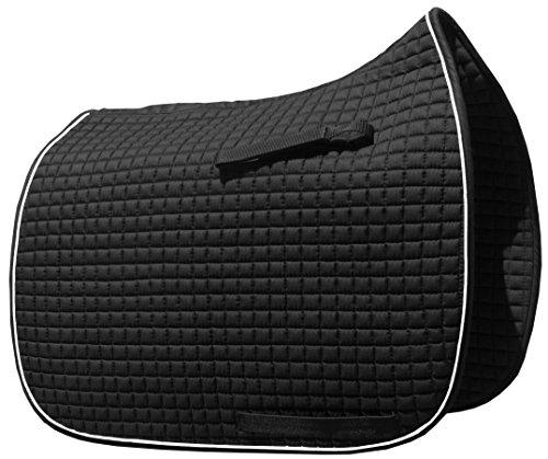 International Dressage Saddle Pad - Black Dressage Saddle Pad with White Piping