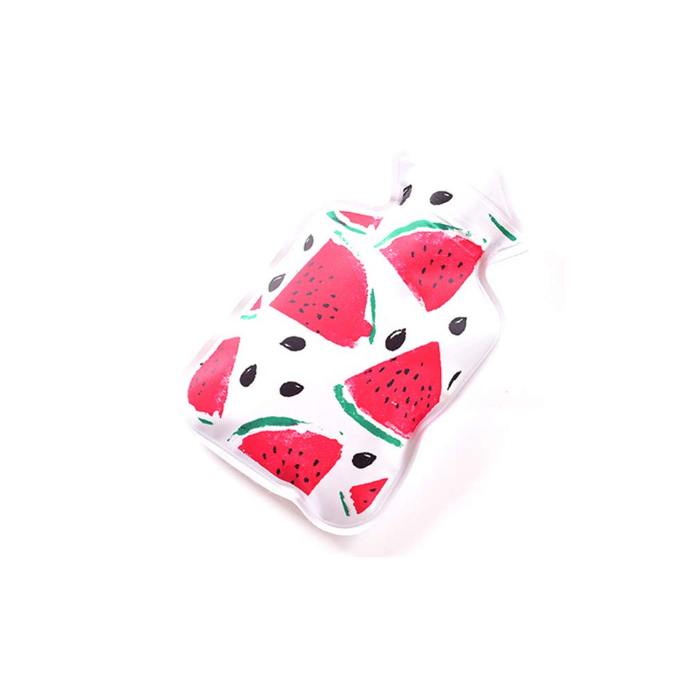 Hacoly Mini Hot Water Bottle Pocket Hot Water Bag Rubber Hottie Water Heating Bag for Pain Relief, Menstrual Cramps, Cold Winter Bed Warming Portable Reusable Therapy Heating Pad-Watermelon