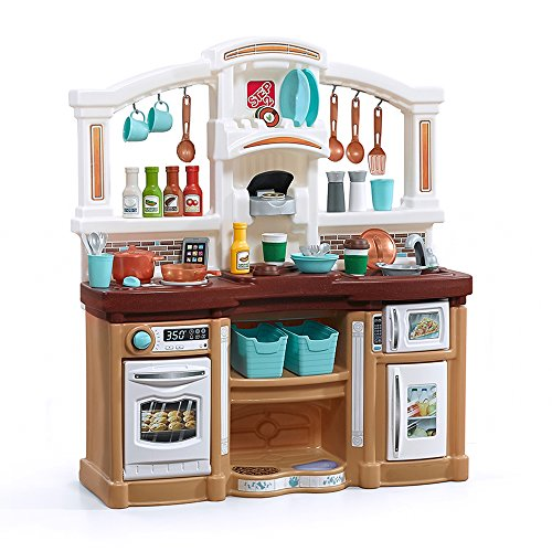 Step2 Fun with Friends Kitchen | Large Plastic Play Kitchen with Realistic Lights & Sounds | Brown Kids Kitchen Playset & 45-Pc Kitchen Accessories Set (Fun Games To Play Inside The House)