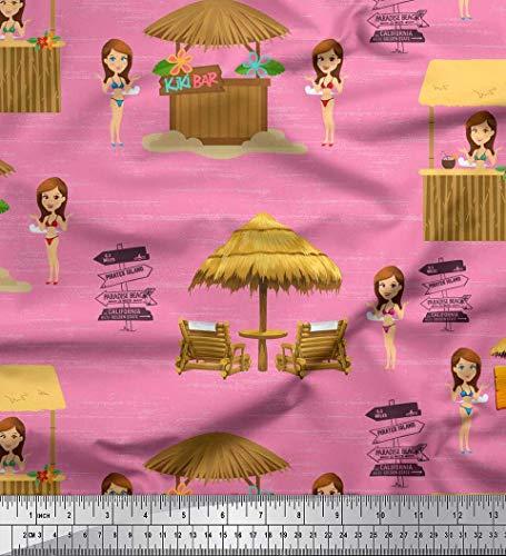 (Soimoi Pink Cotton Jersey Fabric Girl & Bar Summer Designs Print Fabric by Yard 58 Inch Wide)