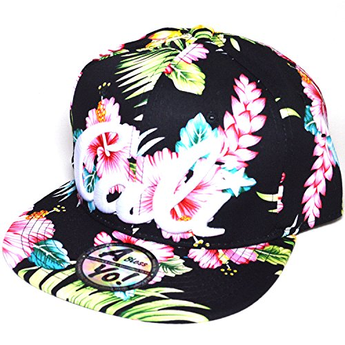 AblessYo Premium Cotton Flower Printed w/Cali Embroidered CA Hawaiian Snapback Cap Hat AYO1070 - Snapback Flower Hats