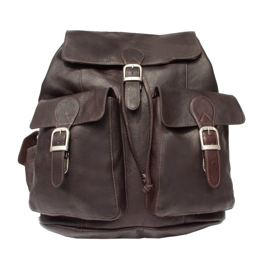 Piel Leather Large Buckle-Flap Backpack, Chocolate, One Size (Buckle Dark Chocolate)
