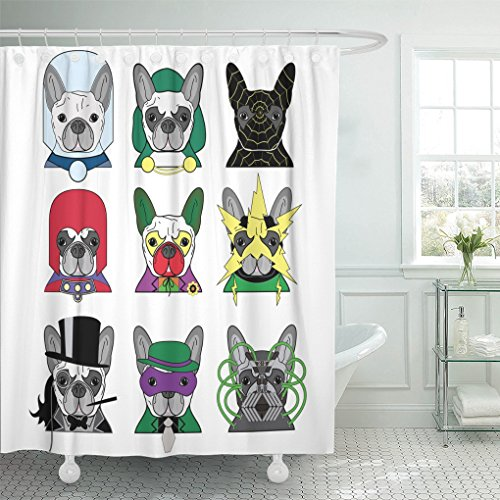 Emvency Shower Curtain Polyester Print 66x72 Inches Green Cartoon of Colorful Comic Book Villain Charters As French Bulldogs Action Waterproof Adjustable Hook -