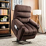 CANMOV Electric Power Lift Recliner Chair Comfortable Antiskid Fabric for Elderly with Remote Control, Heavy Duty Reclining Mechanism Living Room Sofa Chair, Chocolate