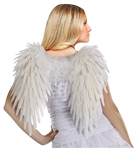 Fun World Costumes Women's Deluxe Feather Angel Wings, White, One Size -