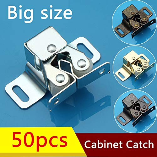 50pcs 47x16mm Wholesale Cabinet Door Catches of various color Drawer Latch Home Safely Security Door Stopper With Screw - (Color: Silver) by Kasuki (Image #2)