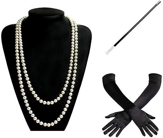 Collana di perle bianche 1920S Flapper Charleston Costume Jewellery