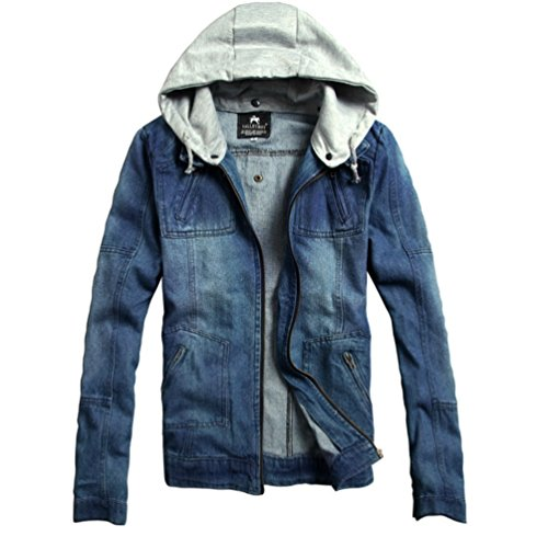Mercea Men's Denim Jacket with Detachable Hood Flying Bomber Tops for Teen Boys Spring Fall by Mercea