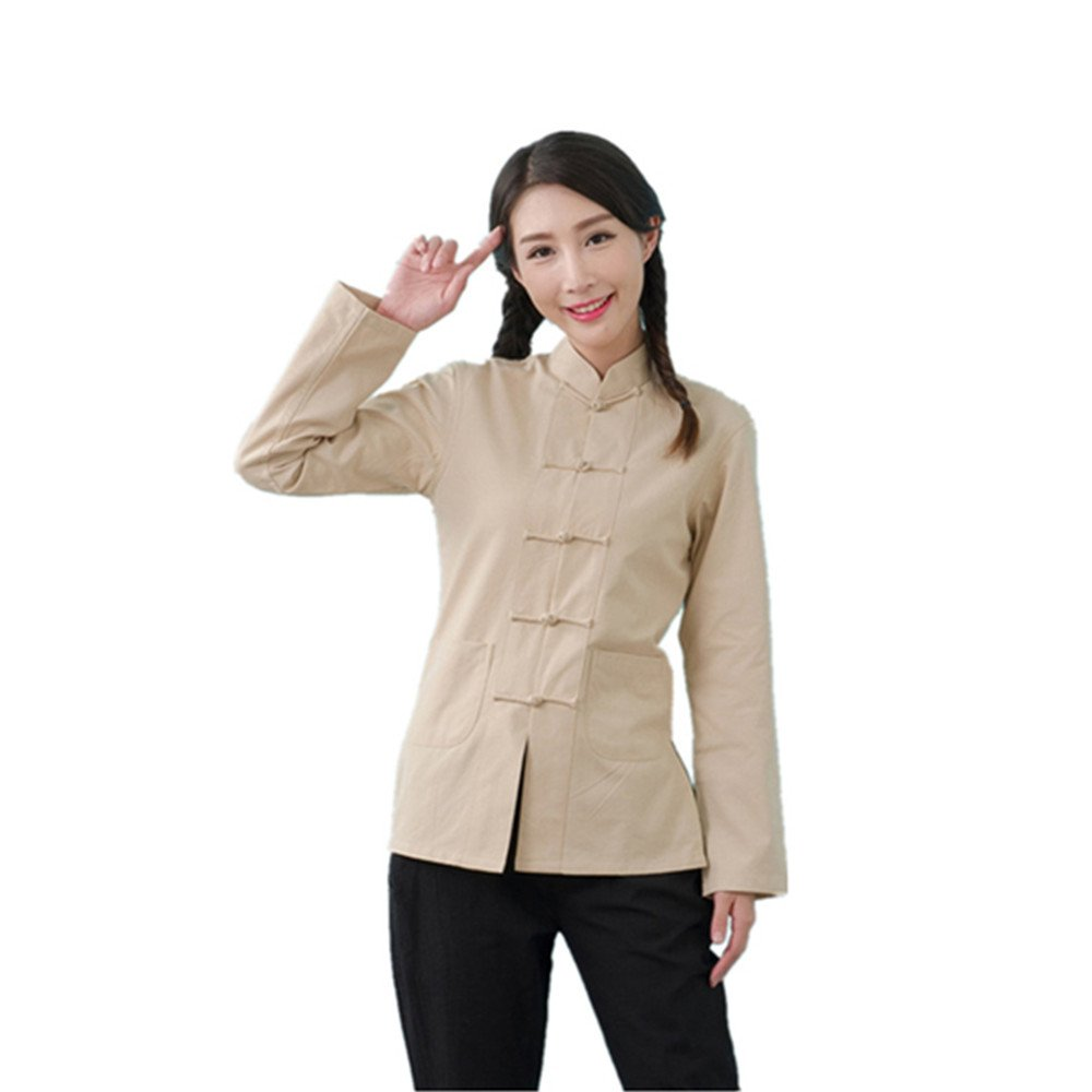 ZooBoo Womens Chinese Martial Arts Cotton Linen Long Sleeve Tang Suit Shirt Kungfu Tops (S, Beige)