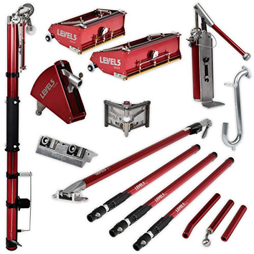 Full Finishing Drywall Set + Extension Handles - LEVEL5 | Pro-Grade | Automatic Taper, 10/12