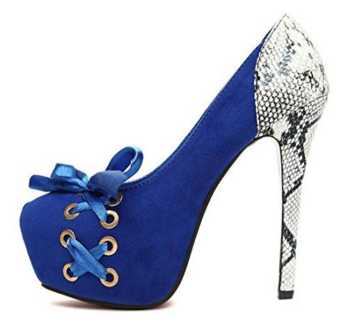 Corbata Zapatos mujer lateral banquete Tacones de moño Serpentine Lazo CYGG vestir altos de Heel de blue de de boda PxIqw8H