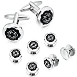 HAWSON Black Cufflinks Tuxedo Studs Set for Men - 2 Pairs Cufflinks with 6 Pieces Studs in Gift Box