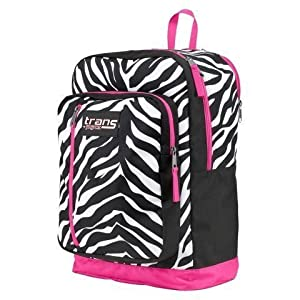 Trans by Jansport Overexposed Megahertz Backpack Pink Black Zebra