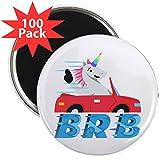 CafePress - Emoji Unicorn BRB - 2.25'' Magnet (100 pack)