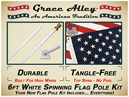 Grace Alley Flag Pole Kit: Tangle Free Flag Pole Kit Includes US Flag - Made in USA, Outdoor Flag Pole and Flag Pole Bracket. Great for Residential or Commercial. American Classic White (American Flag Kit)
