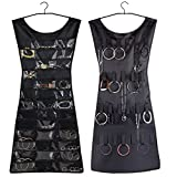 RARITYUS Dress Style Two Sides Black Hanging Organizer for Jewelry and Makeup Assesories … (black)