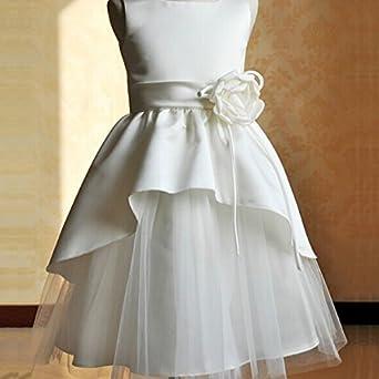 VKTECH® Vestido Blanco Niña de Flores Falda de Capas Múltiples para Boda Fiesta (130