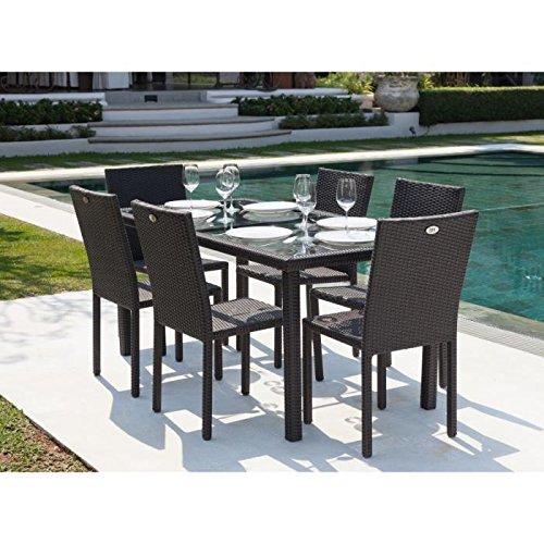 Ensemble table de jardin + 6 chaises acier et résine tressée gris ...