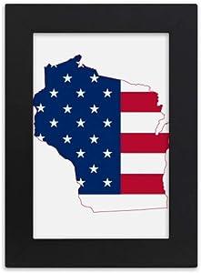 DIYthinker Wisconsin America Map Stars Stripes Flag Shape Desktop Photo Frame Picture Display Art Painting Exhibit